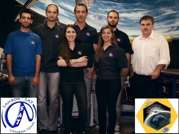 Some of the Lambda-Sat Team (right to left) Dr. Periklis Papadopoulos, Kostas Alexandrou, Eriana Panopoulou, Vaggelis Christodoulou, Maria Dimitrakopoulou, Charalabos Koulouris and Simos Kanis