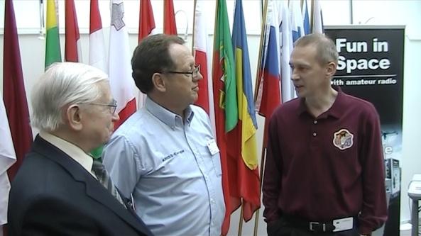 Gaston Bertels ON4WF Graham Shirville G3VZV and astronaut Frank De Winne ON1DWN at the European Parliament