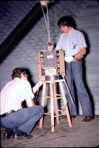 OSCAR 7 in anechoic chamber with Perry Klein K3JTE and Jan King K8VTR/W3GEY - Credit Dick Daniels W4PUJ