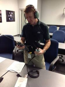 Tim Peake KG5BVI training on the amateur radio station equipment he will use on the ISS
