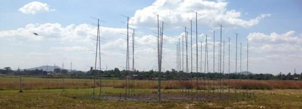 First 18 of the 49.9 MHz radar antennas pointing skywards