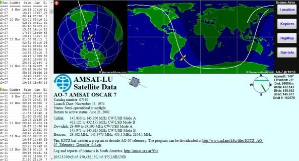 Satrack showing OSCAR 7 (AO-7)