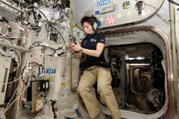Samantha Cristoforetti IZ0UDF using the amateur radio station in the ISS Columbus module