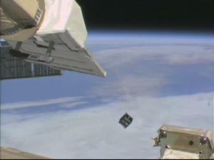 AESP-14 CubeSat deployment from ISS - Image JAXA