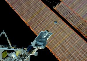 AESP-14 CubeSat released from ISS - Photo by Samantha Cristoforetti IZ0UDF