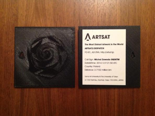 ARTSAT2:DESPATCH QSL card