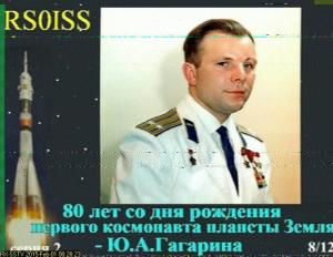 ISS SSTV image 8/12 received by Raul LU5AG at 1120 UT on February 1, 2015