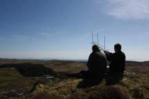 Hilltop satellite operation from Mull in 2012 with Peter 2E0SQL and Robert M0VFC - Image Credit Lawrence M0LCM
