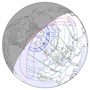 Path of Solar Eclipse  March 20 2015