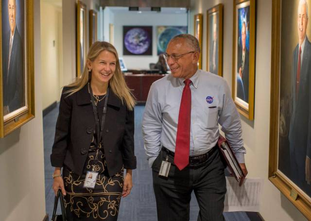 NASA Deputy Administrator Dr. Dava Newman KB1HIK walks to a meeting with NASA Administrator Charles Bolden formerly KE4IQB, on Monday, May 18, her first day on the job at NASA Headquarters in Washington. Credits: NASA/Bill Ingalls