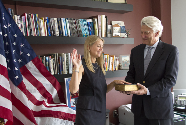 Prof. Dava Newman KB1HIK being sworn in as NASA Deputy Administrator - Credit MIT
