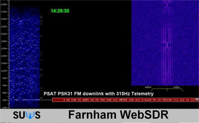 PSAT PSK31 FM Downlink received by Martin G8JNJ at 1429 UT May 22, 2015 using the online SUWS WebSDR