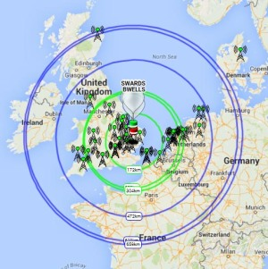 Transmission coverage area of the balloons at 1352 GMT June 29