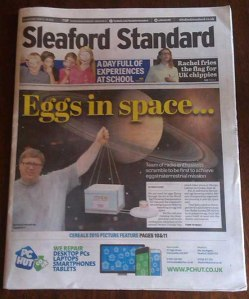 Eggs in Space on front page of the Sleaford Standard newspaper