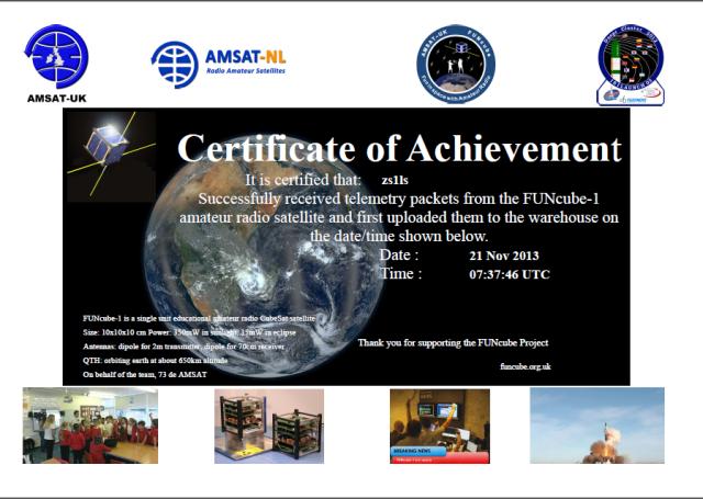 FUNcube Certificate of Achievement