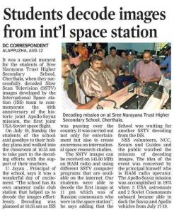 ISS SSTV in the Deccan Chronicle