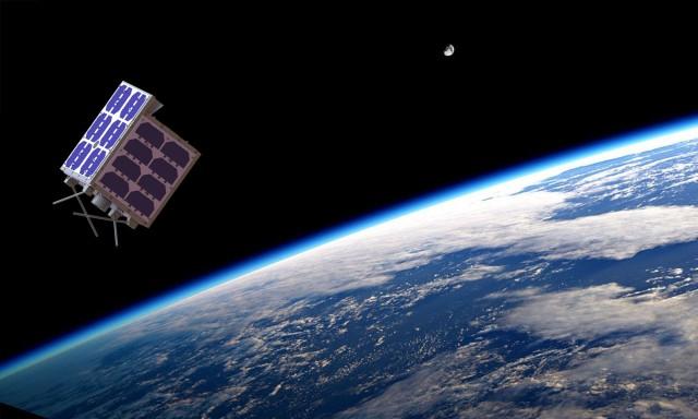 Artists impression of LilacSat-2 in orbit