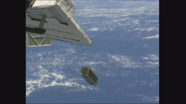 Deployment of the SERPENS CubeSat from the ISS on September 17, 2015 - Credit JAXA