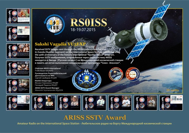 ISS SSTV Apollo-Soyuz Award #0289 received by Sakshi Vagadia VU3EXP
