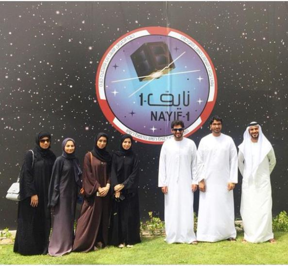 Nayif-1 team members after completion of the assembly and integration of the CubeSat