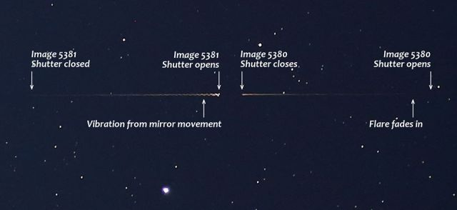 Explanation of the SSETI Express XO-53 observed flare in terms of the two images captured on Oct. 27, 2015. Note, the team couldn't use mirror lock-up in combination with the specific remote. Hence the wobble.