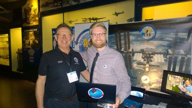 Graham Shirville G3VZV and Chris Bridges 2E0OBC on the ARISS stand at the London Science Museum