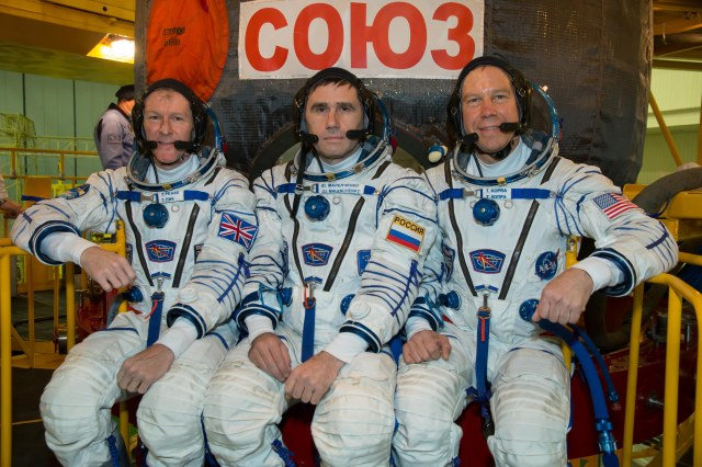 Tim Peake KG5BVI with Yuri Malenchenko RK3DUP and Tim Kopra KE5UDN