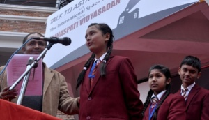 Brihaspati Vidhyasadan School students speak to Tim Peake KG5BVI / NA1SS - Image Credit Nagarik News