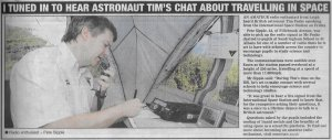 ISS amateur radio article in Southend Echo Jan 13, 2016