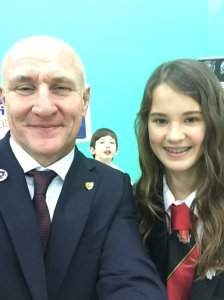 Headteacher Alan Gray G4DJX with Jessica Leigh M6LPJ - Image Credit Sandringham School
