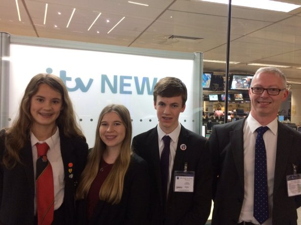Sandringham School students at ITV News in London - Image Credit @SandringhamSch1