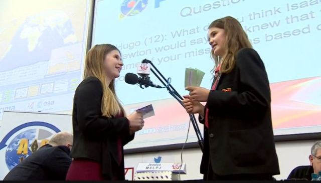 Sandringham students talk to Tim Peake GB1SS using amateur radio - BBC TV screenshot