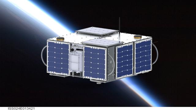 Simulation of AggieSat4 on orbit - Credit Andrew Shell