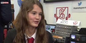 Sky News interview with Jessica Leigh M6LPJ with Kenwood TS-2000X in background