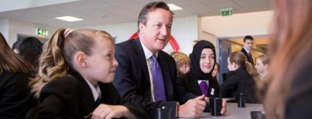 In 2014 the UK PM spoke to Oasis Academy Brightstowe students - Image Credit Oasis Academy