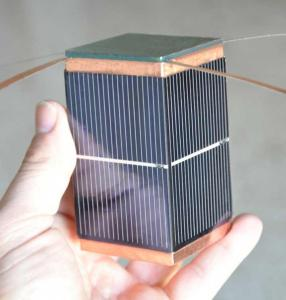 Mock-up showing typical size of a PocketQube satellite