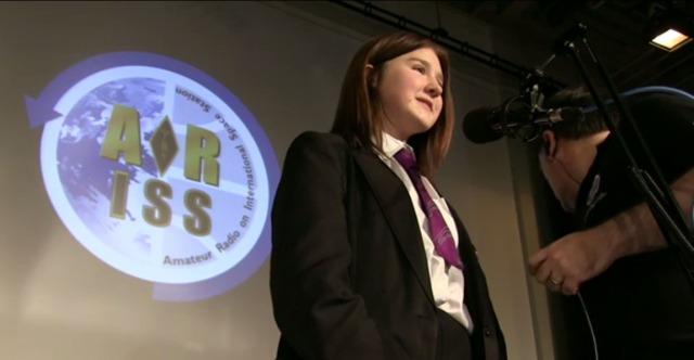 Oasis Academy Brightstowe student Emily speaking to Tim Peake