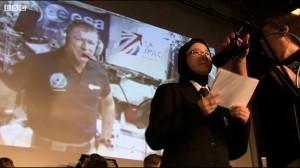 Seema Talib-Hussain talking to Tim Peake GB1SS