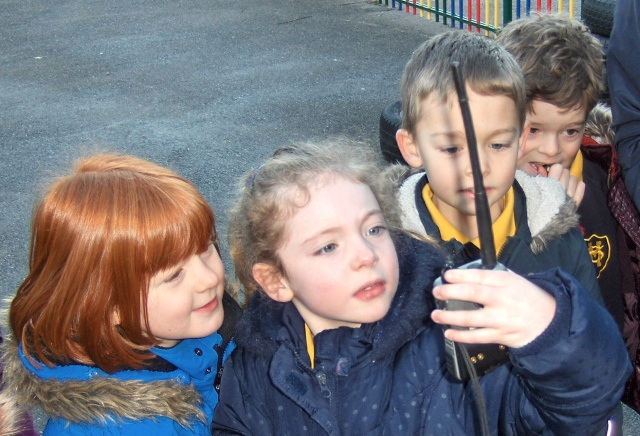 St Mildred's Primary Infant school students listen to Tim Peake using amateur radio