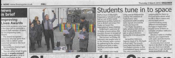 The Enquirer newspaper report on the educational outreach by Essex Ham