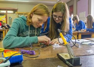 As part of the preparations for the contact Powys students took part in an Amateur Radio Buildathon - Credit RSGB