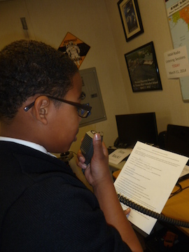 STM student using amateur radio station