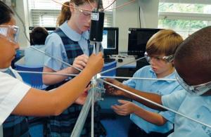 STM students building antenna to receive data from STMSat-1 - Credit Saint Thomas More Cathedral School