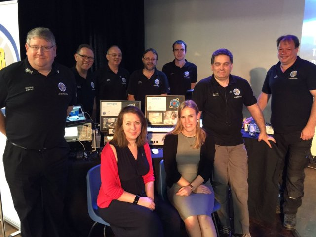 ARISS UK Team with UKSA's Libby Jackson and Susan Buckle at The Kings School - Credit Goonhilly GES Ltd