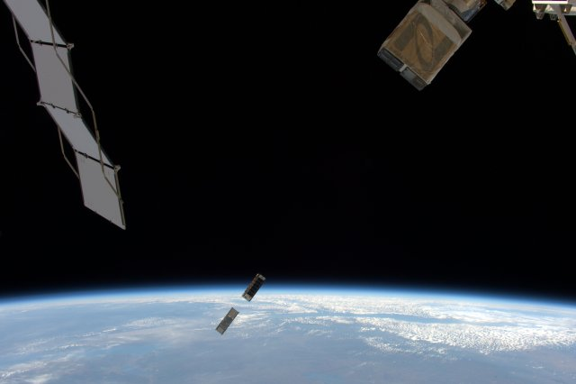 MinXSS-1 and CADRE CubeSats deployed by Tim Peake KG5BVI / GB1SS on May 5, 2016