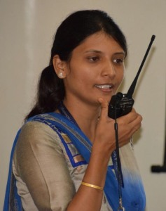 Faculty member making a 145 MHz FM contact