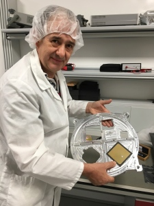 David Bowman G0MRF holds the ESEO bottom plate during the fit check of the L band patch antenna
