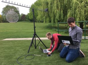 Dr Chris Bridges M0IEB and Pete Bartram conduct uplink command testing on the ESEO payload in the grounds of University of Surrey