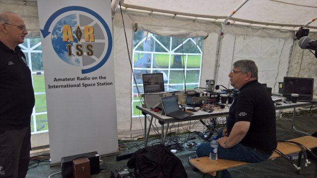 Carlos Eavis G3VHF operating the ARISS station GB4YOTA at Gilwell Park, UK