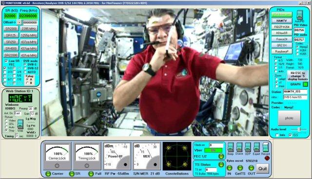Paolo Nespoli IZ0JPA on ISS HamTV - Credit UHF Satcom
